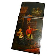 Papier Mache Etui Hand Painted Scenes Rare Early 1800's Awesome