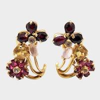 Rubbellite Tourmaline Diamond Citrine Gold Cluster Earrings Fine Extraordinary