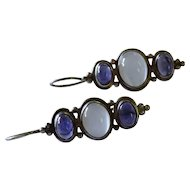 Moonstone Iolite Cabochon Sterling Silver Drop Earrings Fine Vintage