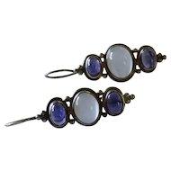 Moonstone Iolite Cabochon Sterling Silver Drop Earrings Fine Vintage