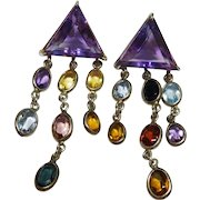 Multi-Gemstone Sterling Silver Earrings Dangle Fine Vintage
