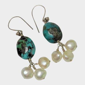 Turquoise Sterling Silver Freshwater Pearl Dangle Earrings Pretty