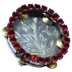 Antique Tambourine Brooch Ruby Paste Awesome Novelty