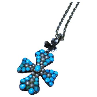 Turquoise Seed Pearl Pave Sterling Silver Cross Pendant Necklace Fine Vintage Rare