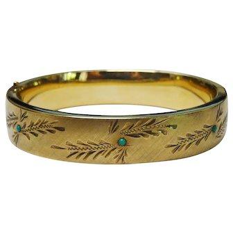 Beautiful Turquoise 12K Gold Filled Bangle Ornate Chased Decoration Vintage