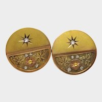 Victorian Diamond Gold Floral Aesthetic Earrings Fine Screw-backs Antique Charming