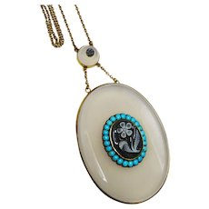 Outstanding Turquoise Chalcedony Cameo Gold Necklace Aesthetic Rare Victorian