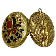 Victorian Enamel Yellow Gold Filled Locket Floral Chased Decoration