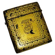 Victorian Papier Mache Gilt Hand Painted Card Case Fine Rare Visiting Card Case