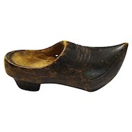 Precious Vintage Carved Wood Shoe Miniature