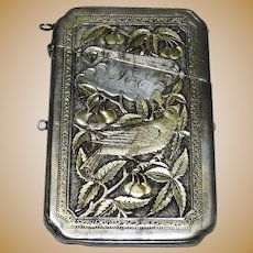 Antique Sterling Silver Aesthetic Calling Card Case Fine