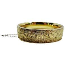 Clearance!--Bangle Bracelet Binder Brothers 12K YGF Ornate Vintage Classic