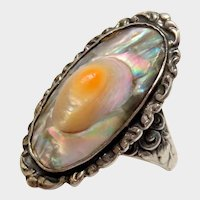 Sterling Silver Blister Pearl Ring Ornate Vintage Fine Pretty
