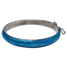 Vintage Blue Guilloche Enamel Sterling Silver Bangle Bracelet Fine Mid-Century