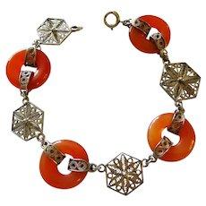 Chinese Deco Carnelian Silver Filigree Link Bracelet Fine Vintage