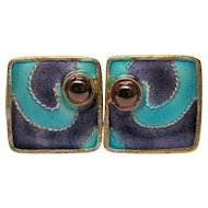 Clearance---Vintage Enamel Garnet Silver Gilt Post Earrings
