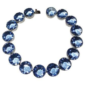 Czech Cornflower Blue Glass Bezel Bracelet Vintage 1920's-1930's Beautiful