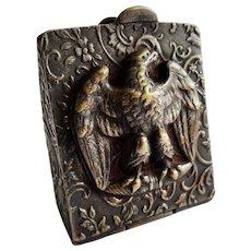 Antique Brass Eagle Repousse Stamp Box Fob Pendant Rare