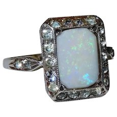 Edwardian Opal 9K Yellow Gold Sterling Paste Halo Ring Fine Lovely