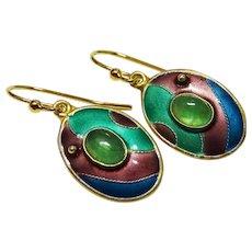 Emerald Enamel Sterling Vermeil Drop Earrings Vintage