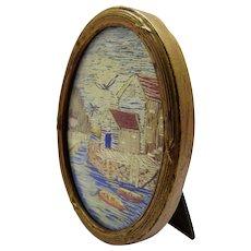 Precious Antique Framed Embroidered Seascape Miniature Fine