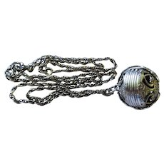 Vintage Sterling Silver Hearts Folding Photo Ball Locket with Chain Necklace Unique