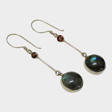 Labradorite Garnet Sterling Silver Long Earrings Modernist Fine
