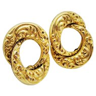 Gorgeous Repousse Double Circle Earrings 12K YGF Screw-backs Fine
