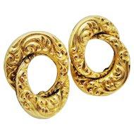 Gorgeous Repousse Double Circle Earrings 12K YGF Screw-backs Fine
