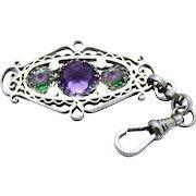 Art Deco Iris Glass Watch Fob Pendant Chunky