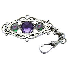 Final Markdown!--Art Deco Iris Glass Watch Fob Pendant Chunky