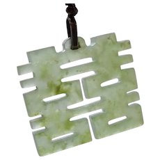 Chinese Carved Celadon Jadeite Jade Pendant Double Happiness