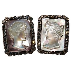 Final Markdown!—Vintage Sterling Cameo Mother of Pearl Earrings Fine
