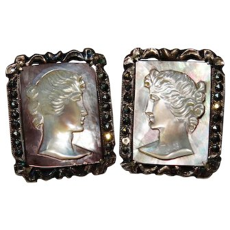 Vintage Sterling Cameo Mother of Pearl Earrings Fine