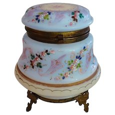 Victorian Opaline Glass Hand Painted Hinged Box Lovely Antique
