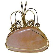 Pink Quartz Gold Wire Ornate Pendant Lovely