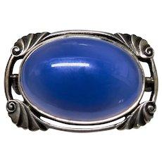 Blue Chalcedony Sterling Silver Brooch Art Deco Fine Lovely