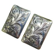 Vintage Silver Chased Earrings Italy Fine
