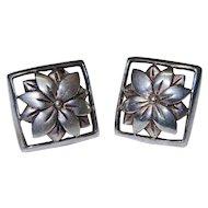 Final Markdown! Sterling Silver Flower Cut Out Earrings Vintage