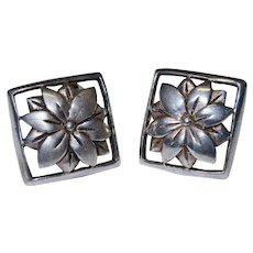 Sterling Silver Flower Cut Out Earrings Vintage