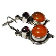 Garnet Carnelian Sterling Silver Dangle Earrings Vintage