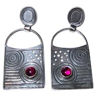 Garnet Sterling Silver Dangle Earrings Abstract Studio Awesome Vintage