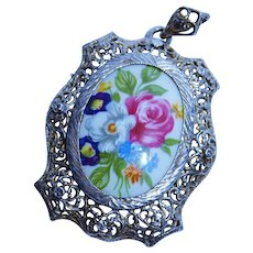 Hand Painted Porcelain Sterling Silver Filigree Pendant Fine Italy Flowers Vintage