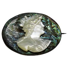 Mother of Pearl Abalone Cameo Sterling Silver Brooch Pin Victorian Fine Stunning