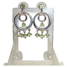 Peridot Sterling Silver Chandelier Dangle Earrings Fine Vintage Pretty