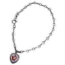 Sterling Silver Link Bracelet Pink Enamel Heart Charm Rose Vintage