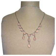 Rose Quartz Sterling Silver Festoon Necklace Fine Vintage Pretty