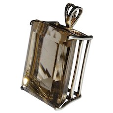Huge Rutilated Quartz Emerald Cut Sterling Pendant Fine