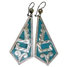 Turquoise Sterling Silver Long Earrings Southwestern Chased Fine Awesome