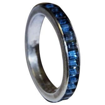 Crown Trifari Sterling Silver Eternity Band Sapphire Blue Glass Emerald Cut Stones
